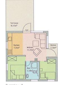 Ruhiges Ferienhaus mit Terrasse + Balkon + Garten - Binz - Wohnung