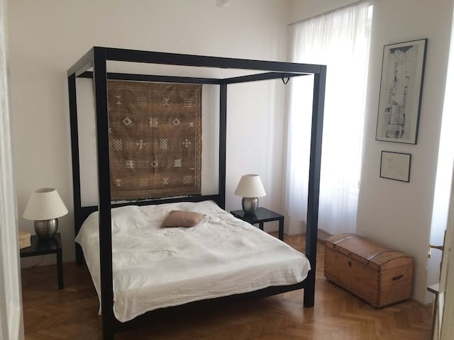 Romantic bedroom with full size bed