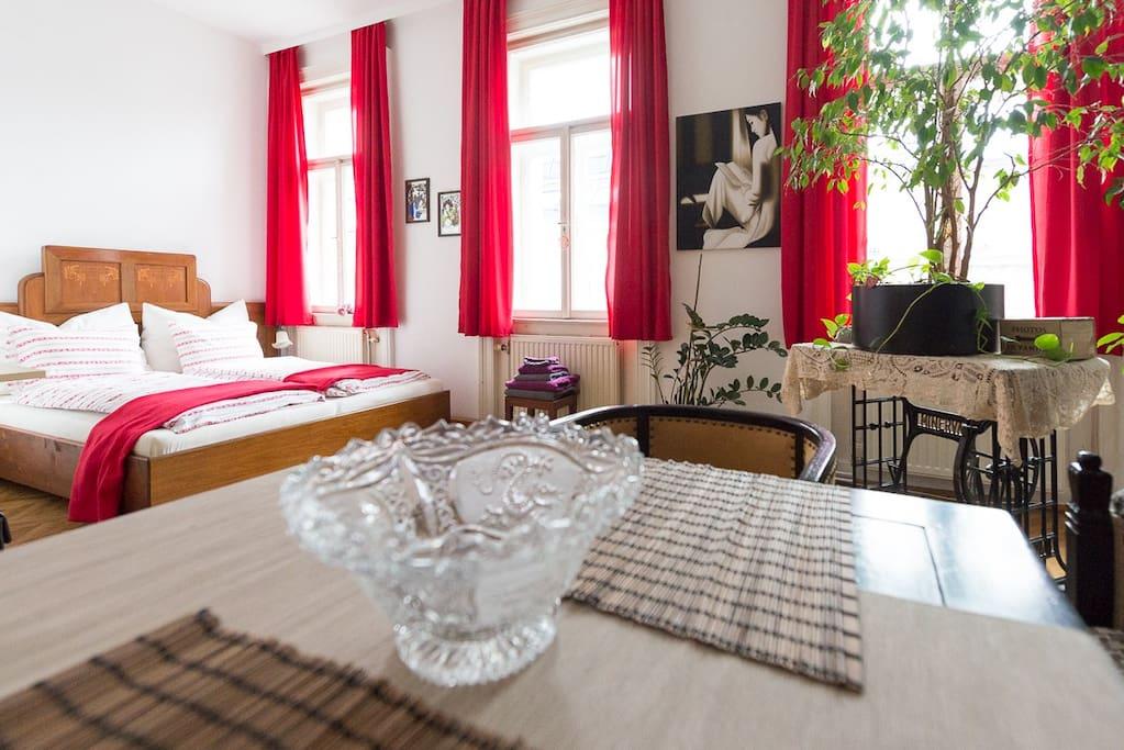 cozy and sunny guestroom