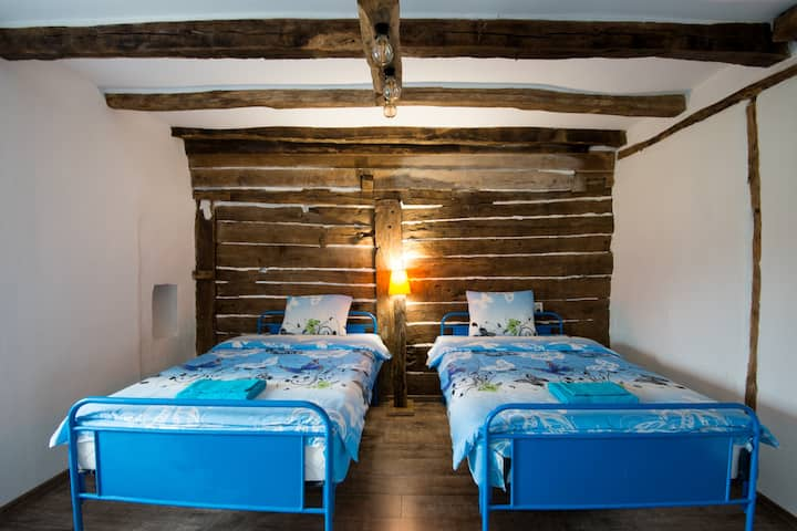 The Old Nest house, room with wooden wall
