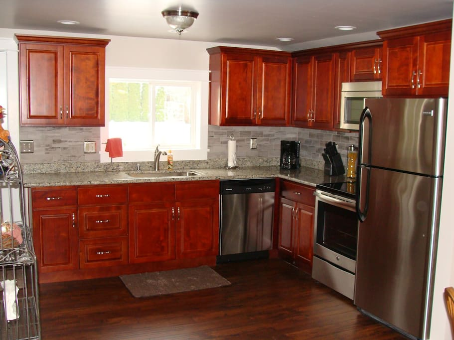 Fully functional kitchen with everything you need to cook anything! We even supply the dish soap!