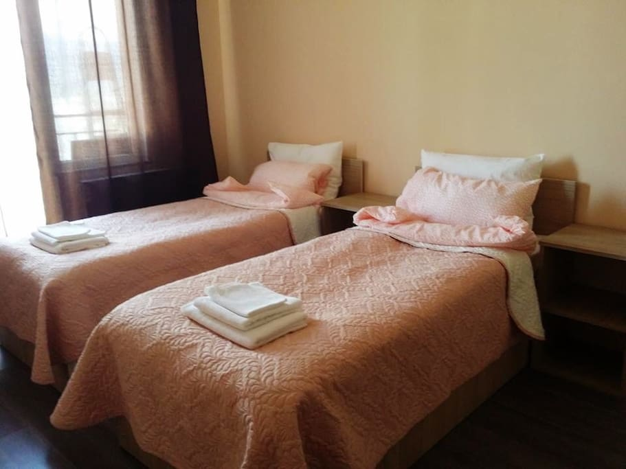 две односпальные кровати (сдвигаются в одну большую кровать)