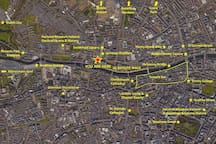 Map of main tourist sites in Dublin and we are right in the middle in a quiet neighbourhood