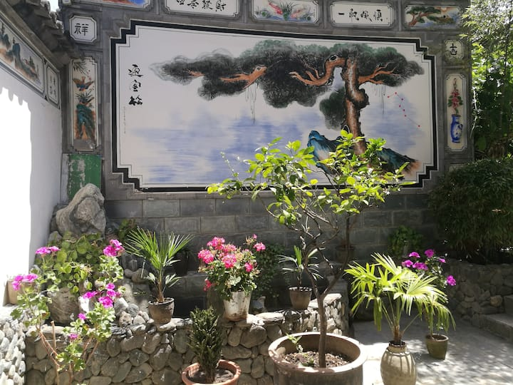 古城苍山脚下 超大庭院 绿色天然氧吧 双卧室家庭出游最佳选择 厨房洗衣免费