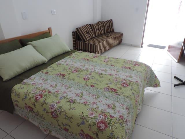Cama de casal e sofá-cama.