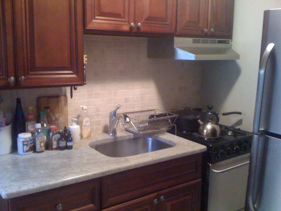 Full kitchen, gas stove and oven. You can use as if it is yours.