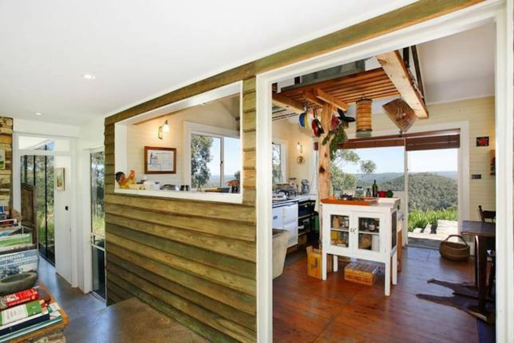 Full chef's kitchen with AGA stove and bush views