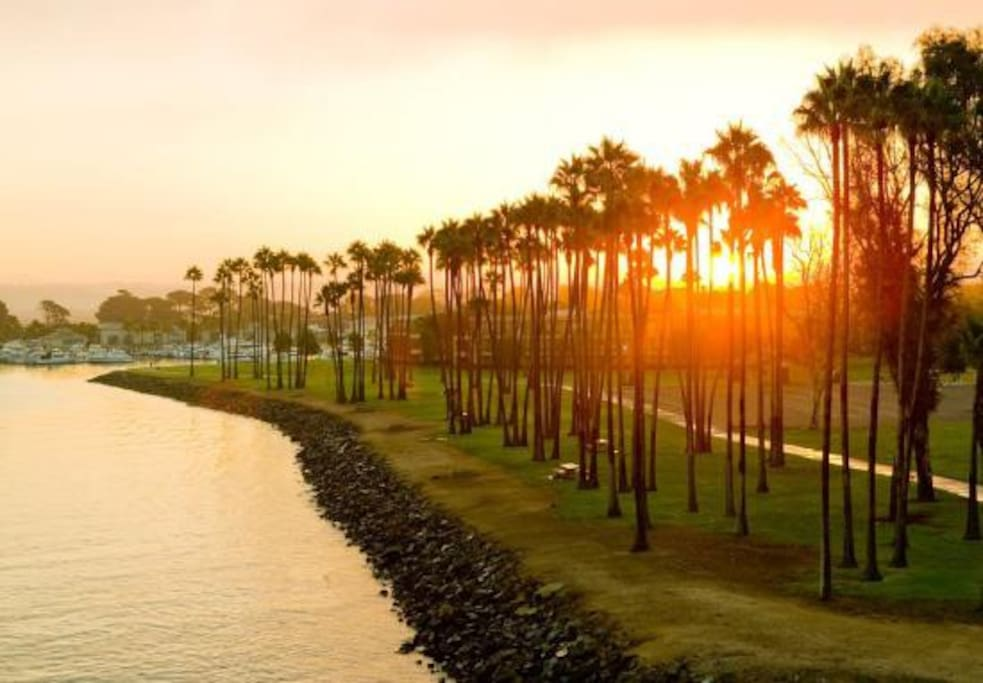 Sunrise over Mission Point Park. Our home is two houses from the sand of beautiful Mission Bay