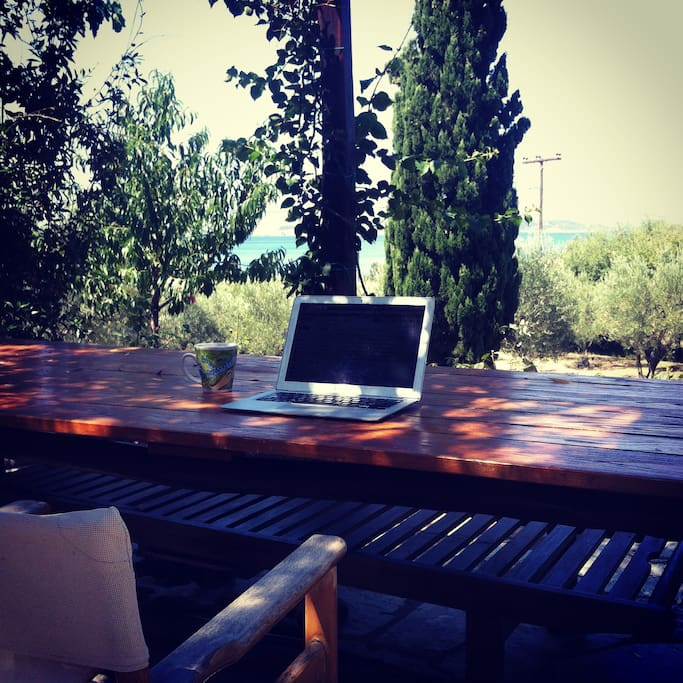 Working from the patio