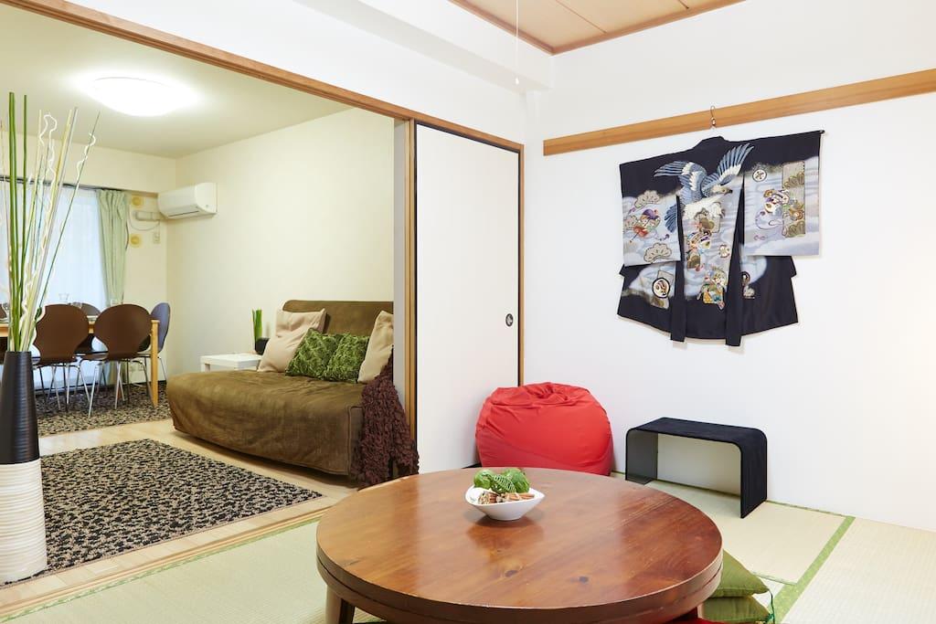 Tatami room lounge area