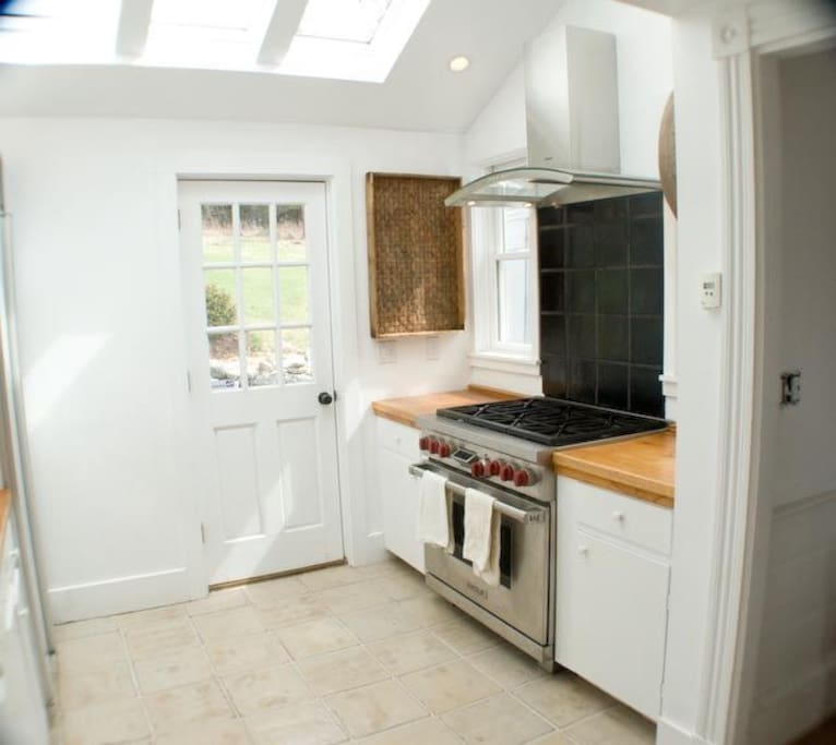 Kitchen with entry to the backyard