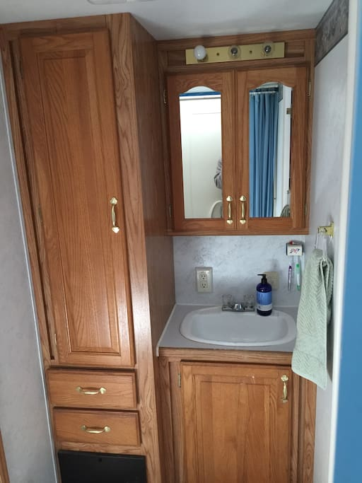 Clean and full bathroom. We provide towels and small soaps.