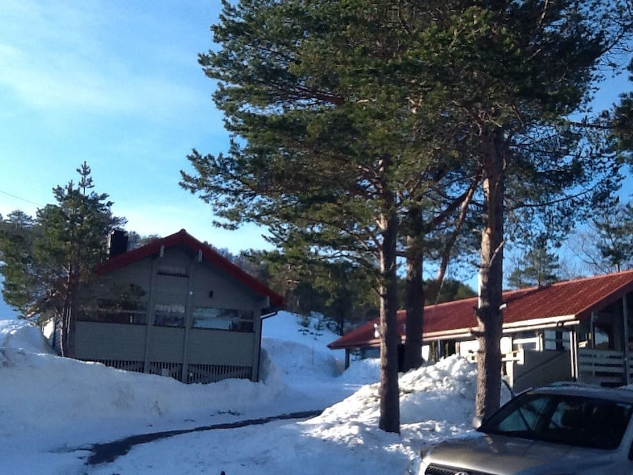 The cottage (to the left) during winter.