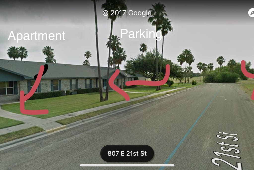 You can see the apartment kn the left, you may park in front of it or in the private covered parking (just beside the corner). At the end the golf course.