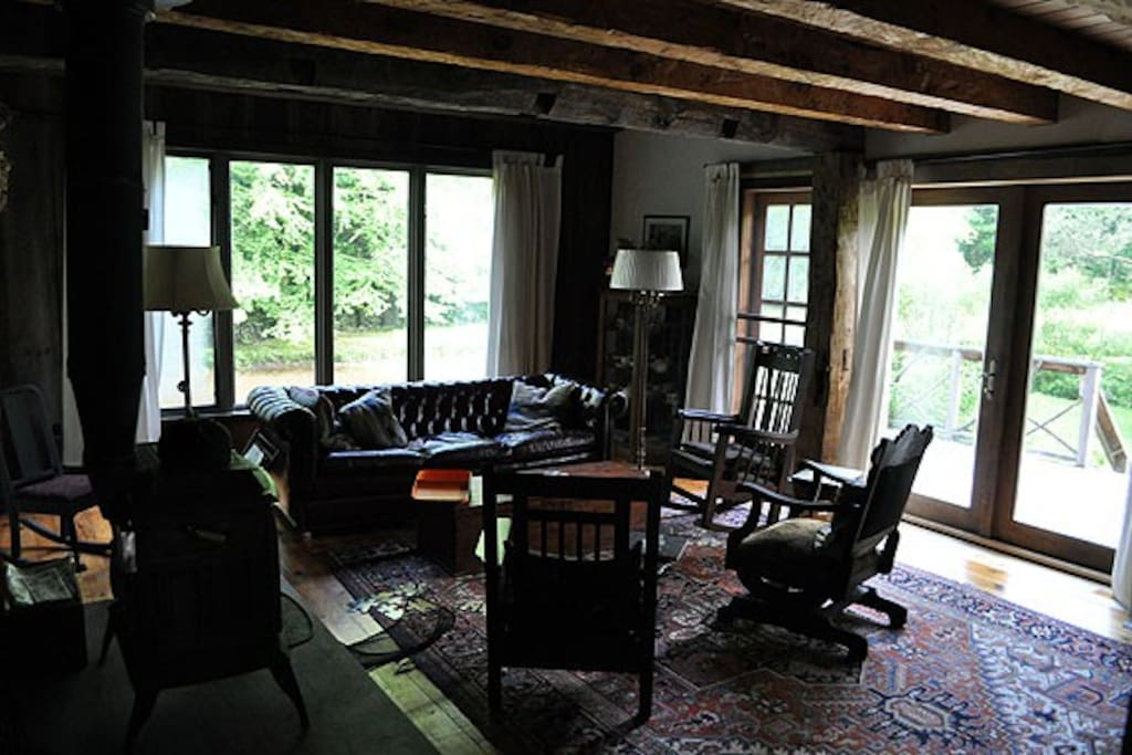 Sit in front of the woodstove with a good book in the winter, or throw open the double french doors in the summer