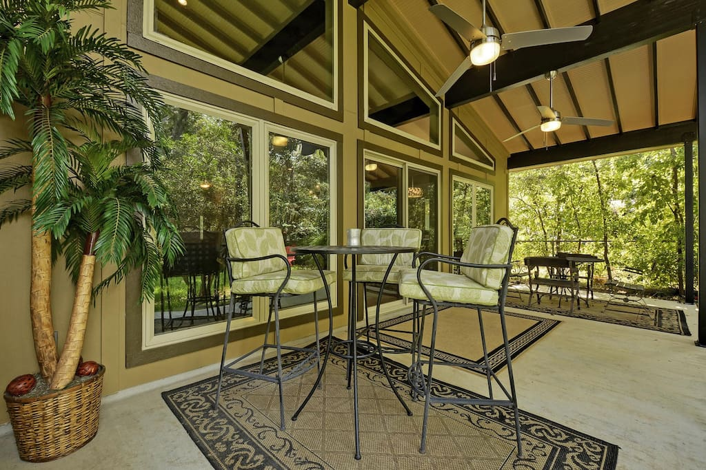 Covered patio table and seating for 3.