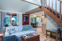 View just inside of door w/loft stairs