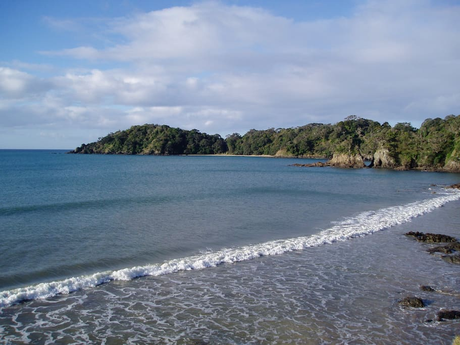 Just 7 mins walk to this secluded, private beach. Fish from the rocks, snorkel and swim