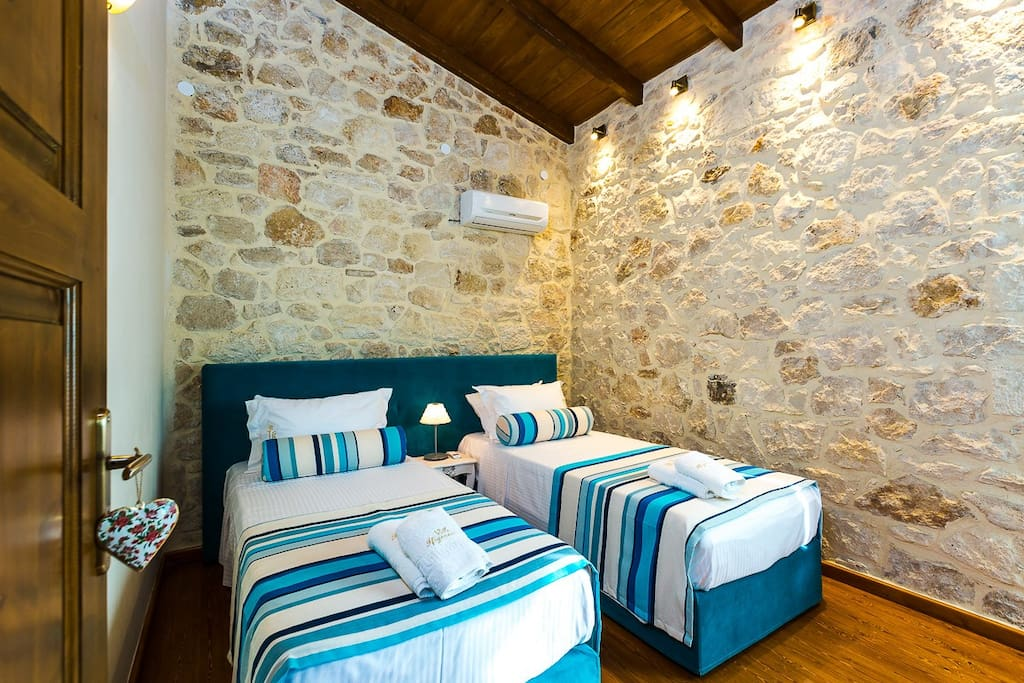 Twin beds upper floor