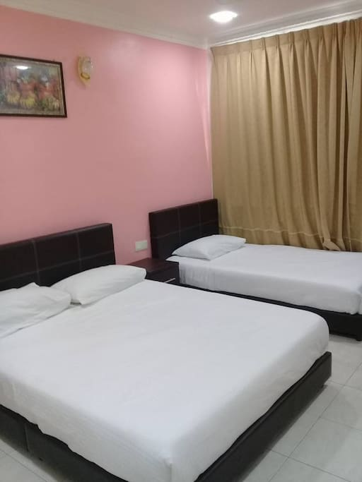 a private room with a double bed and a single bed