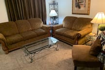 Large living room. Couch, love seat/  chair  .