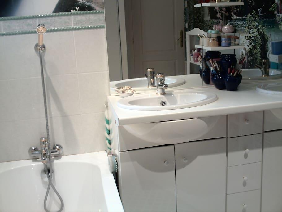 La salle de bain avec 2 vasques