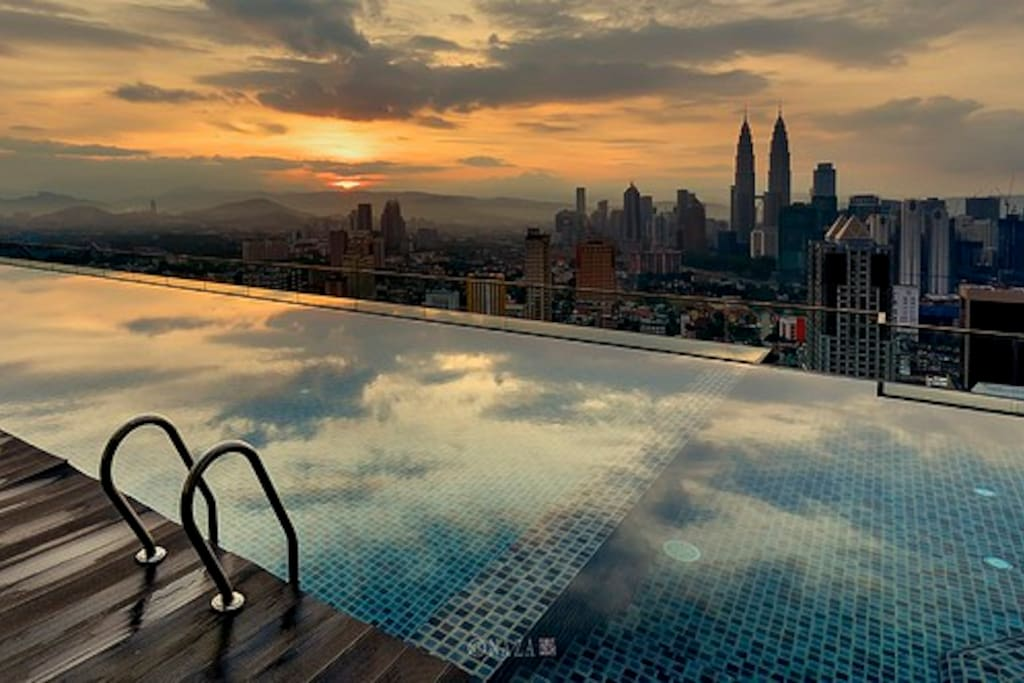 37th rooftop pool taken @ sunset. Rated Best Viewpoint in KL & Top Things To Do In KL