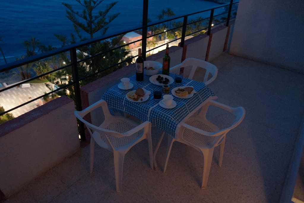 Pleasant evening meal on the balcony