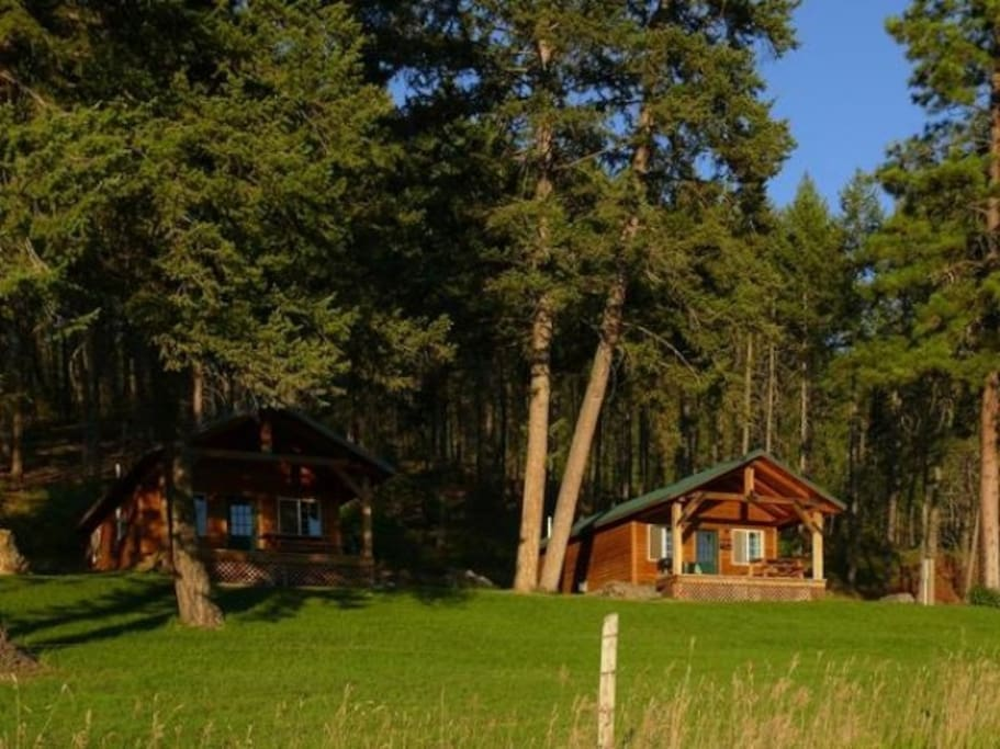 Two (2)  One-Bedroom Cabins with full kitchen, bath, utensils, barbeque, Covered Porch with chairs, and incredible views