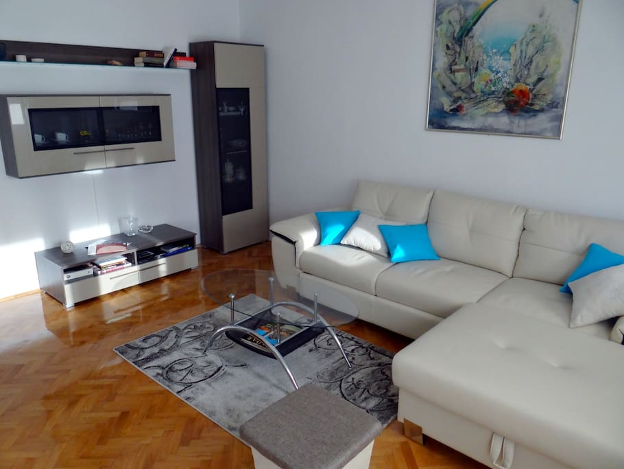 Living room with sofa that can turn into bed for 2.