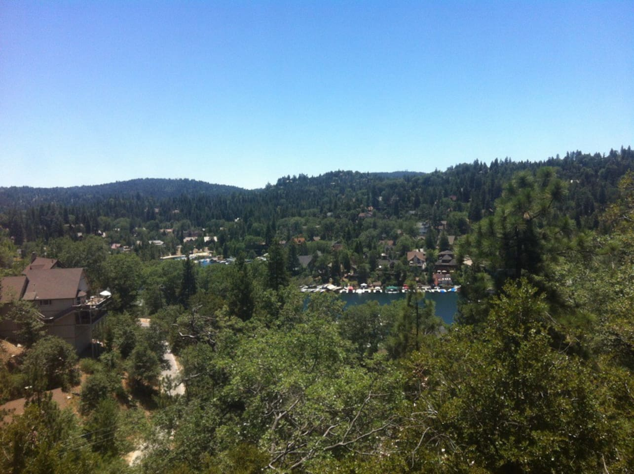 View from the Upper Deck overlooks Lake Arrowhead and surrounding trees