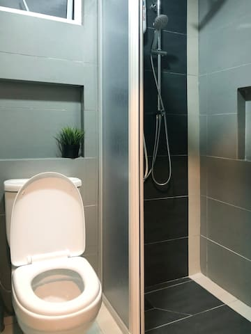 Separated shower and toilet