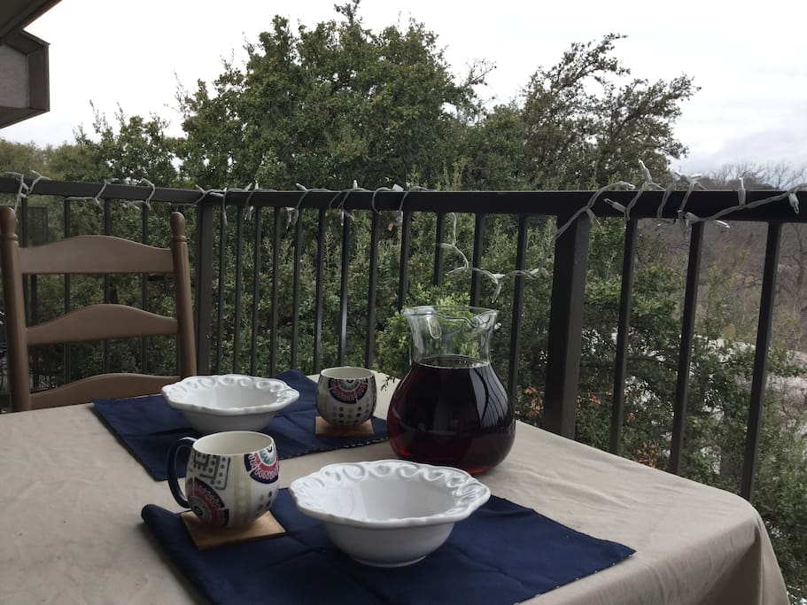 Our lovely balcony is a great place to have breakfast or do some work.