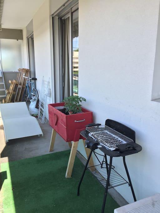 Bain de soleil et barbecue/  plancha électrique