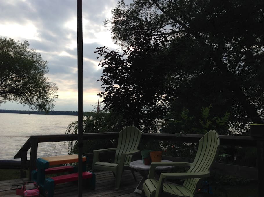View from the large 600 sq foot deck overlooking the water.