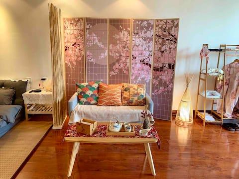 『轻享•和风 』日式设计/体验日本风情/和服拍照/有投影/可做饭/下楼即是万达商圈/交通便利