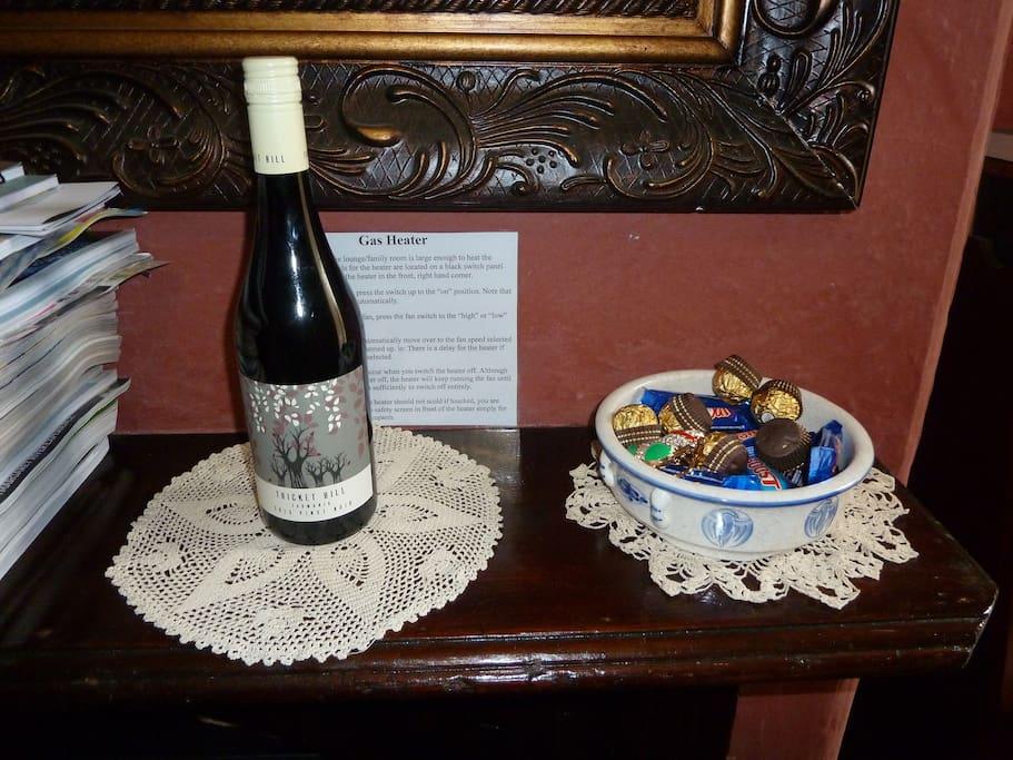 Enjoy a glass a wine and chocolates