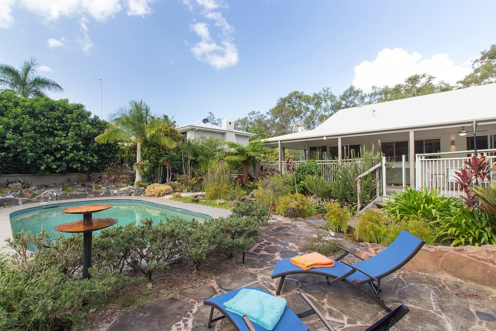 Our home and your home away from home includes a swimming pool and tropical gardens - a great way to unwind and soak up the Noosa lifestyle