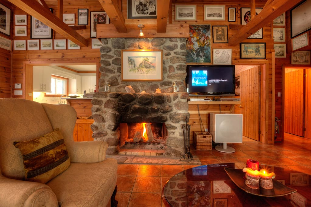 Living room with a wood fireplace