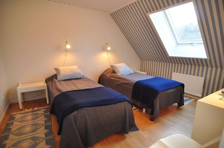 Blå-sovrummet, sovrummet på ovanvåningen. Stort takfönster med rullgardin. Stor häng-garderob och en byrå i detta sovrum.