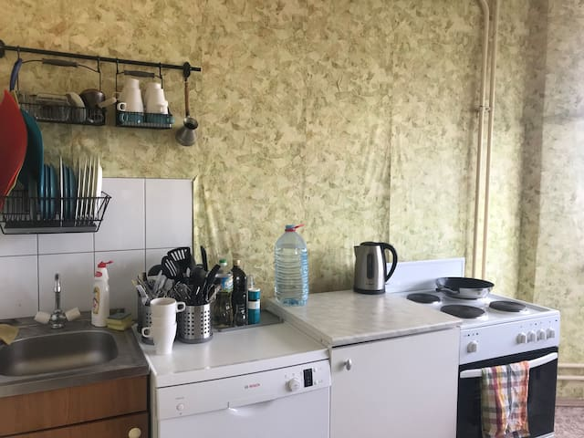 A modest, but clean and fully equipped kitchen:  electric kettle, dishwasher, electric stove, oven, microwave, multivariate, fridge, mixer, pancake maker.