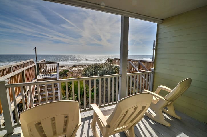 Oceanfront 3 bedroom 3 bath townhouse style condo with private beach access