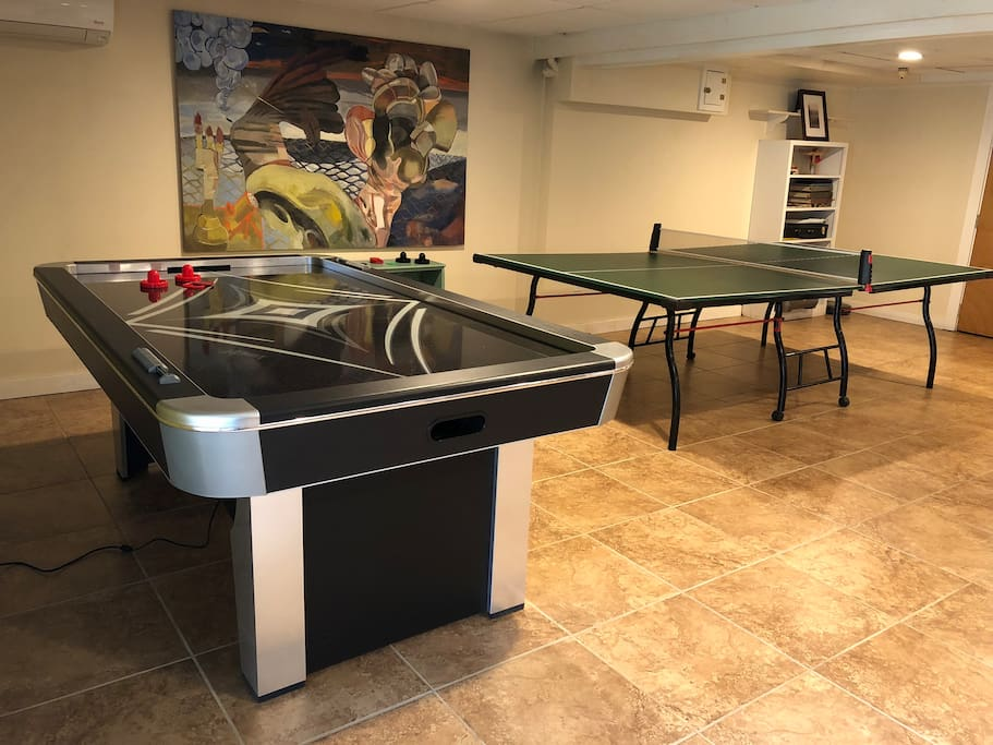 Full size air hockey table and ping pong