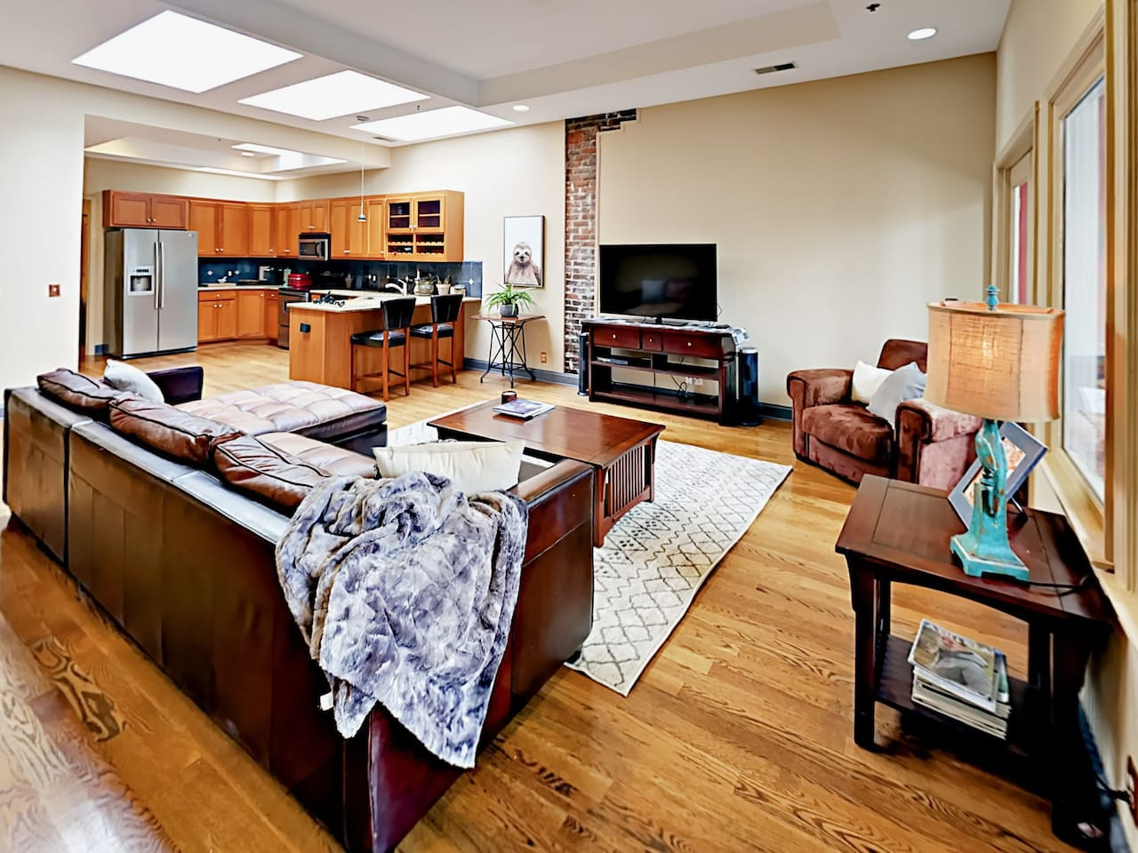 The open living and kitchen space offers a great flow for entertaining.