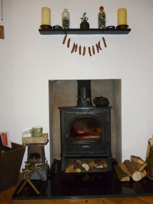 kitchen wood burner in the winter