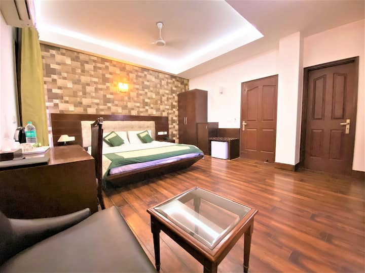 Spacious comfortable room with natural sunlight