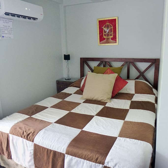 Master bed - queen size. Cozy nook, a bit of a pain to make up:-(( AC makes this area very cold if you like.