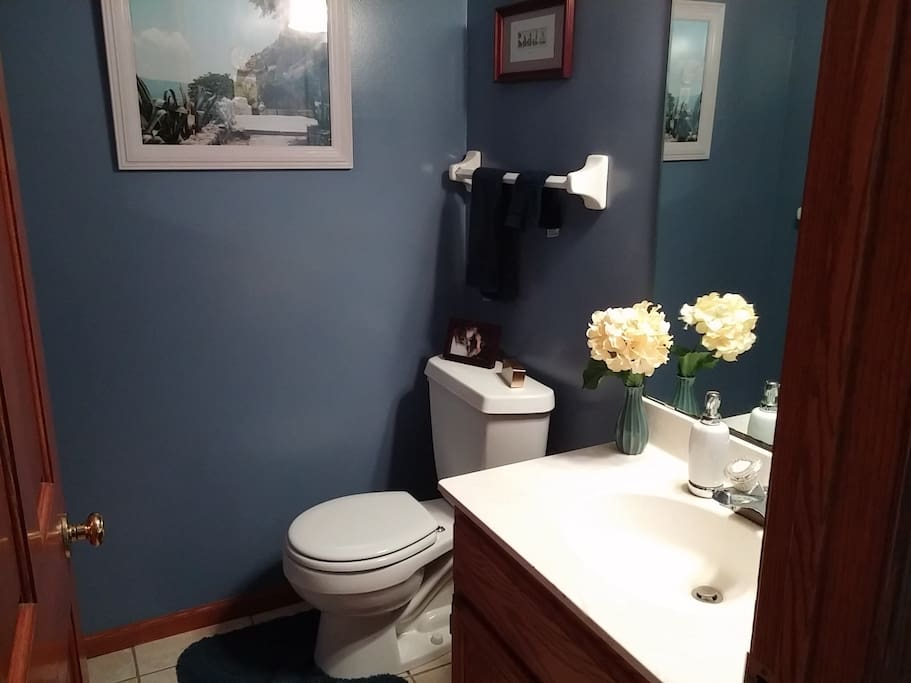 Your private half-bath, with locking door, is right next to your room.  The medicine chest (on wall to the left, behind the door) is all yours.  The shower is in the full-bath on the second floor ...