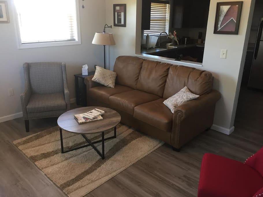 Queen-sized sleeper sofa in living room.