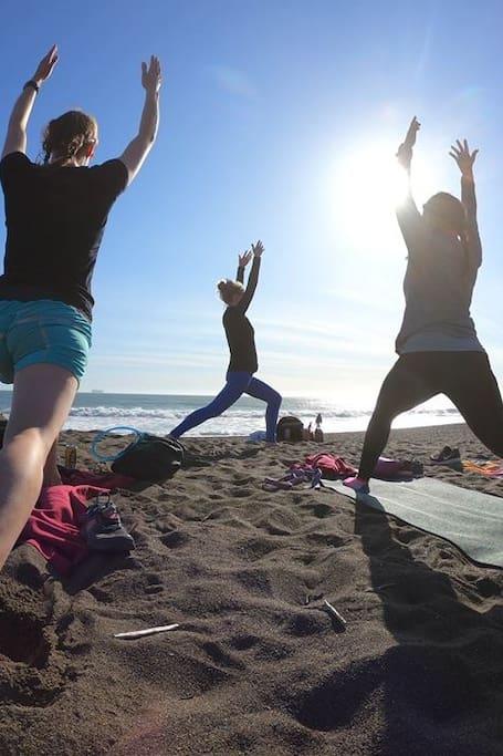 Yoga at Rodeo Beach